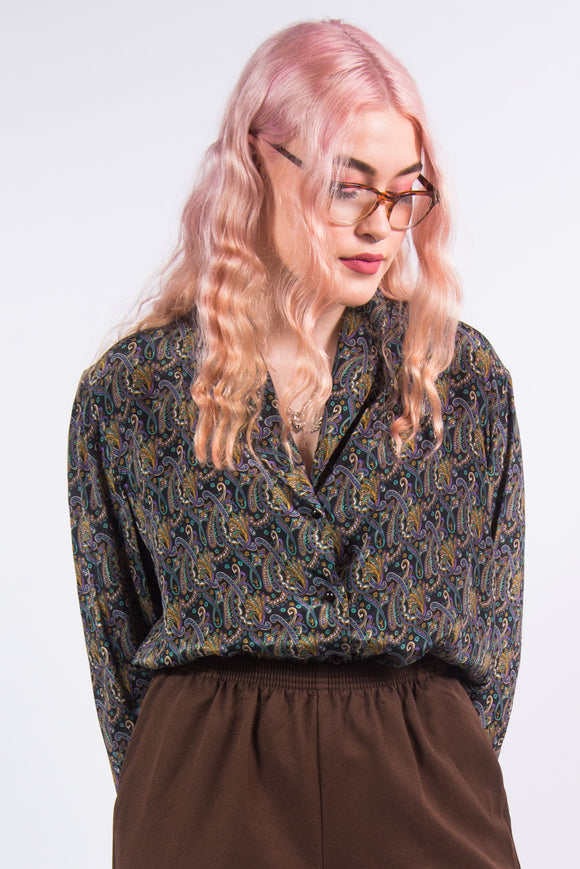 Vintage Paisley Patterned Blouse Shirt