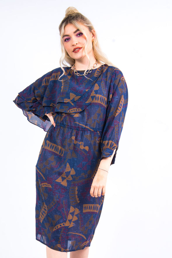 Vintage 80's Frill Shoulder Midi Dress