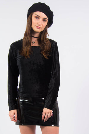 Vintage 90's Black Velvet Square Neck Top