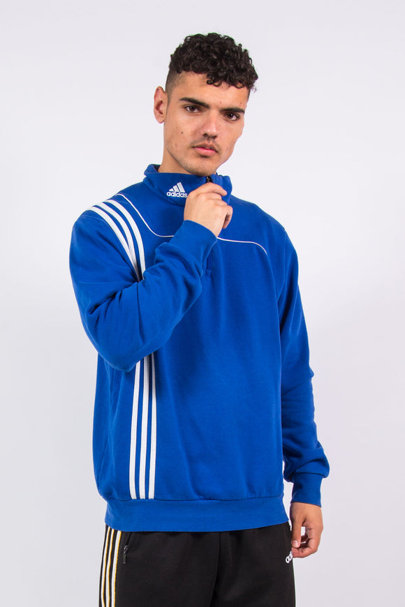 Vintage Adidas 1/4 zip sweatshirt with embroidered logo on neck