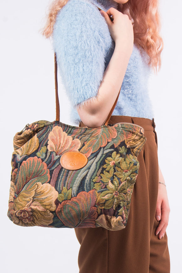 Vintage 90's Floral Tapestry Shoulder Bag
