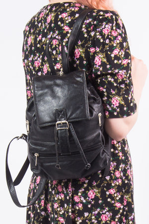 Vintage 90's Black Leather Rucksack Backpack