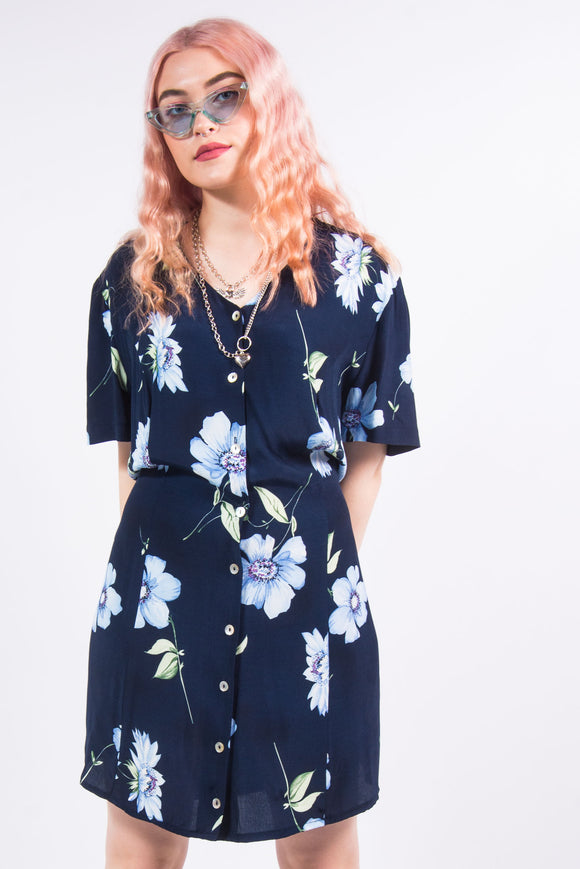 Vintage 90's Floral Pattern Tea Dress