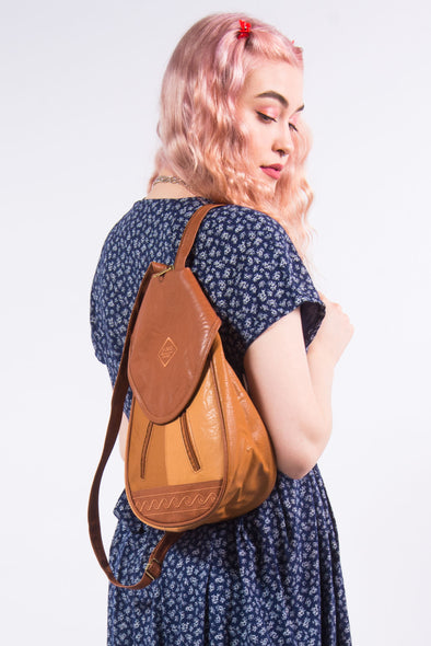 Vintage 90's Faux Leather Rucksack Backpack Bag