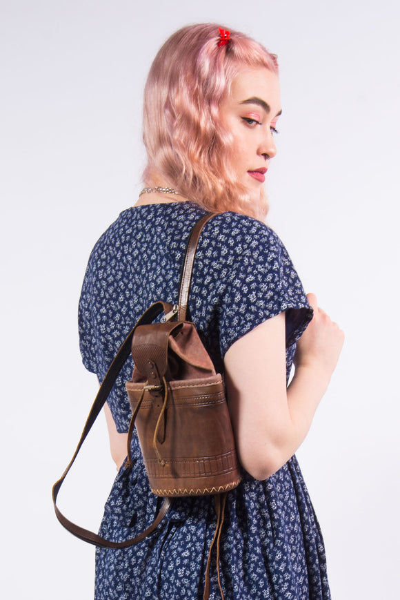 90's Vintage Leather Backpack Rucksack