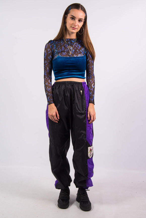 Vintage 90's Black and Purple Tracksuit Bottoms