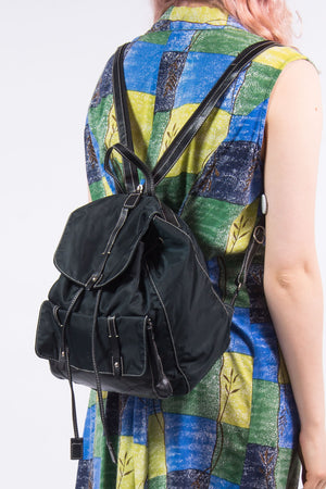 Vintage 90's Faux Leather Contrast Stitch Rucksack Backpack