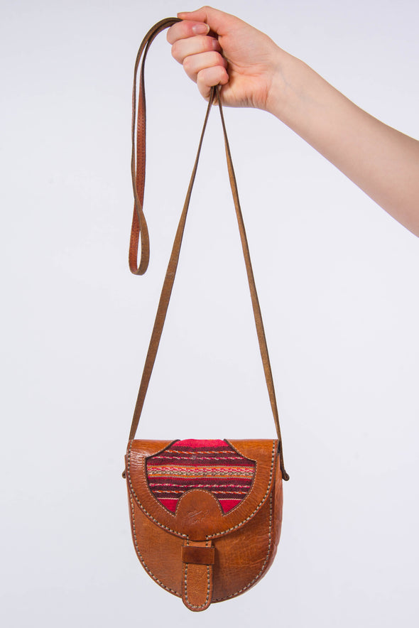 Vintage Aztec Trim Leather Saddle Bag