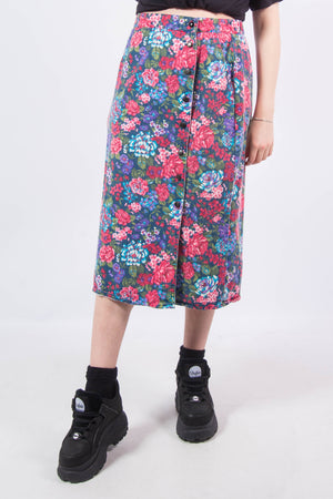 Vintage 90's Floral Denim Midi Skirt