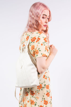 Vintage 90's White Leather Rucksack Backpack
