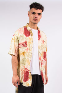 90's Vintage Crazy Pattern Short Sleeve Shirt