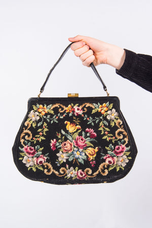 Vintage Black Floral Tapestry Bag