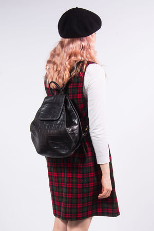 Vintage 90's Mock Croc Leather Rucksack Backpack