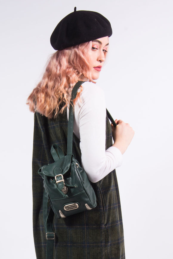 90's Vintage Green Leather Backpack Rucksack