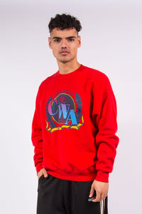 Vintage 90s red crew neck USA college sweatshirt
