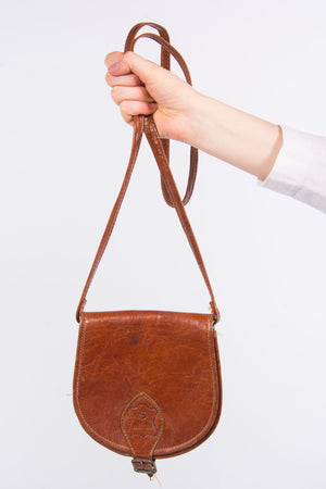 Vintage 90's Tan Leather Saddle Bag