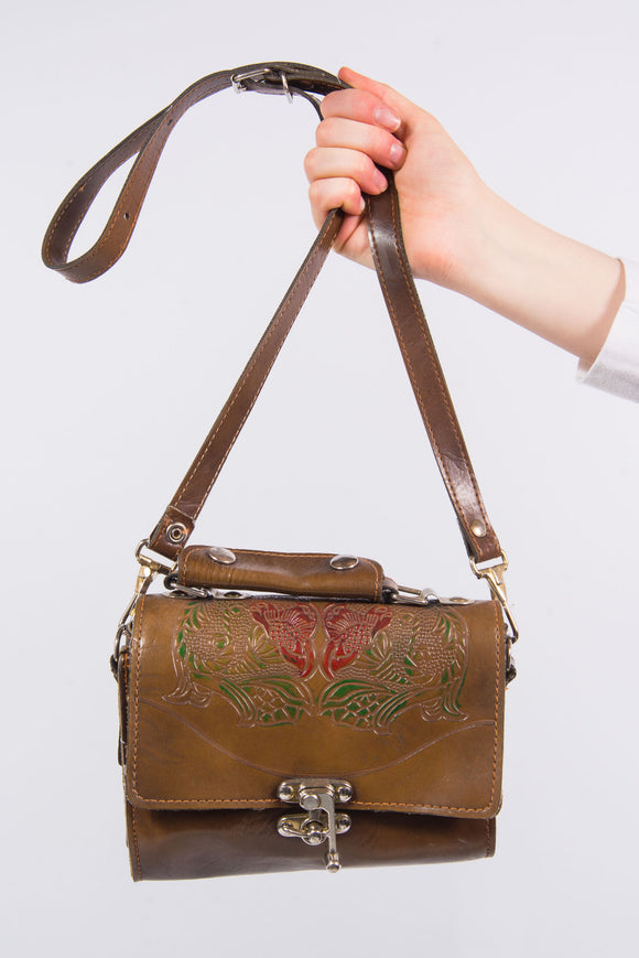Vintage Leather Tooled Shoulder Bag