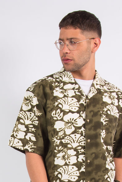 Vintage Floral Leaf Pattern Short Sleeve Shirt