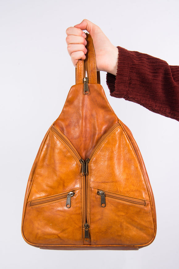 Vintage 90's Tan Leather Rucksack Backpack