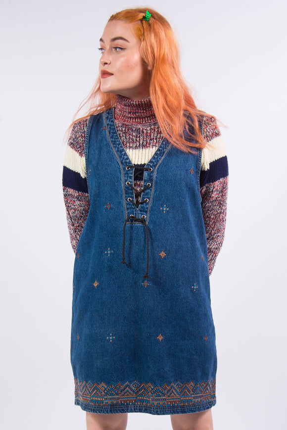 Vintage 90's Denim Pinafore Mini Dress