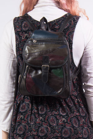 Vintage 90's Patchwork Leather Backpack Rucksack