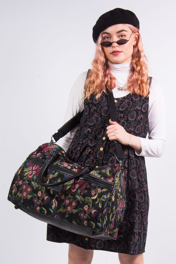Vintage 90's Floral Tapestry Luggage Shoulder Bag