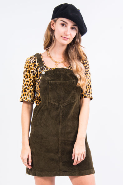 Vintage Olive Green Cord Dungaree Dress