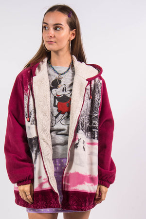 Vintage 90's Hooded Animal Fleece Jacket