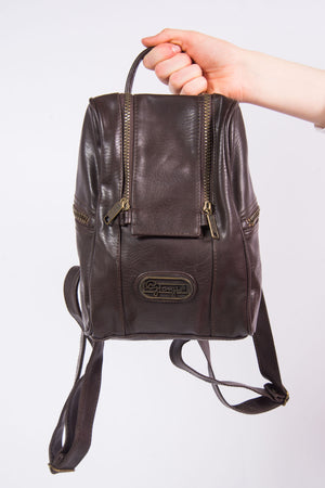 Vintage 90's Dark Brown Leather Rucksack Backpack