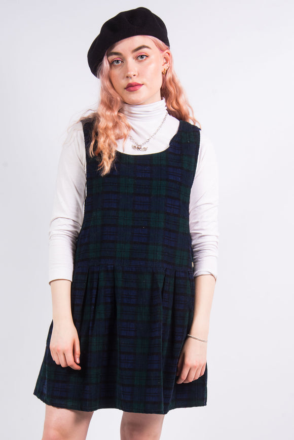 Vintage 90's Tartan Check Pinafore Dress