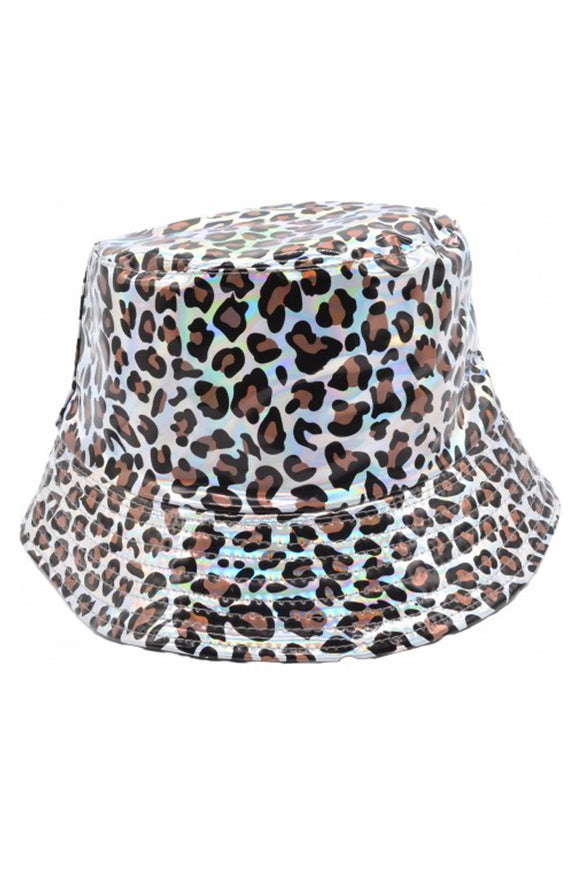 Holographic Leopard Print Bucket Hat