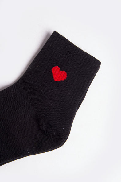 Heart U Black Tube Socks