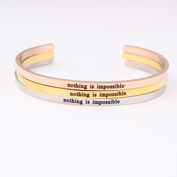 Engraved Positive Inspirational imprint (nothing is impossible)