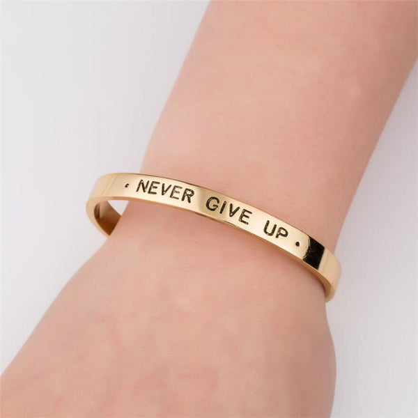 Gold Positive Inspirational Message Never Give Up