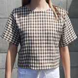Box Top - Khaki Gingham