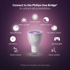 Philips Hue White and Color Ambiance GU10 Dimmable LED Smart Spot Light