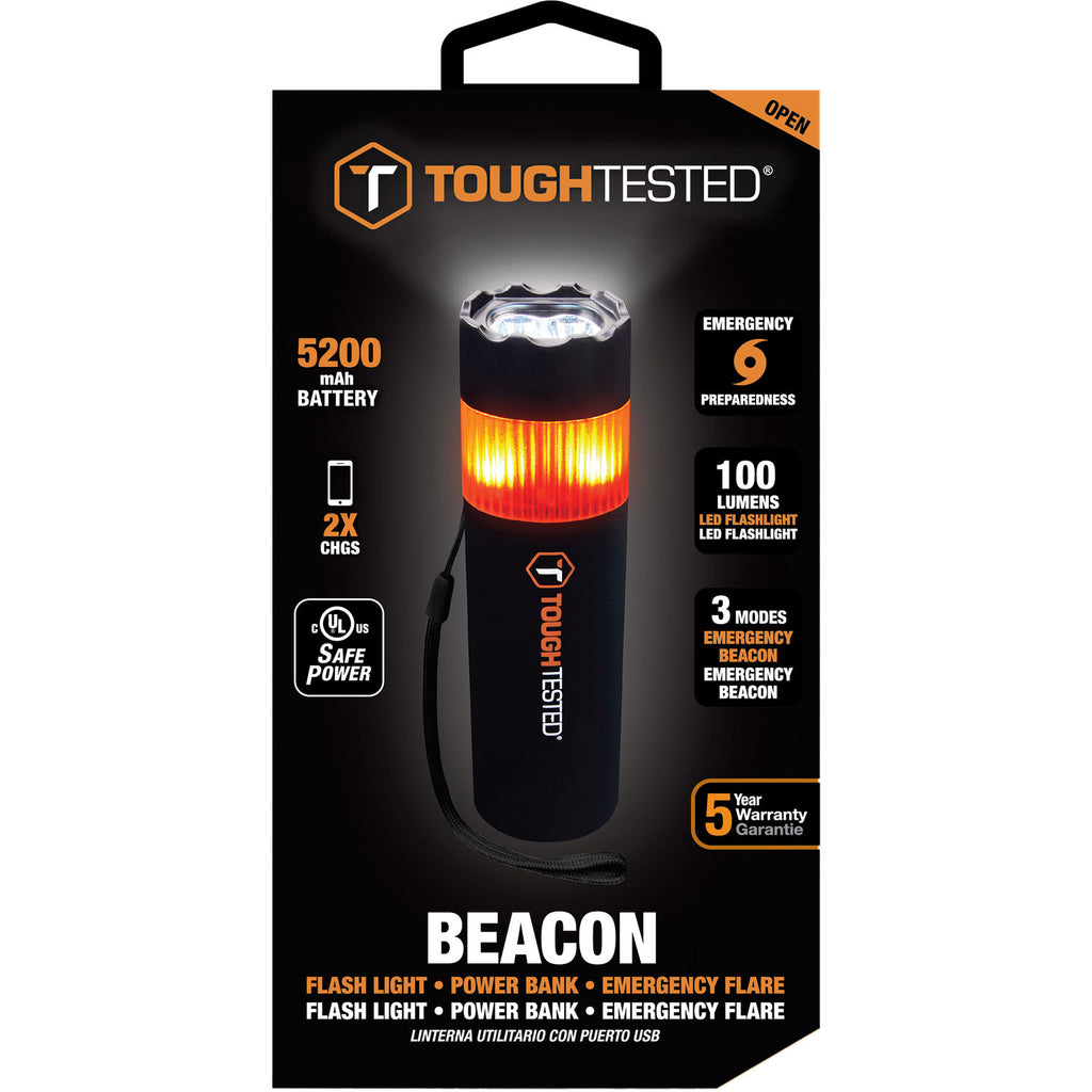 Tough Tested Beacon Emergency Flashlight - (Window Breaker & Powerbank)