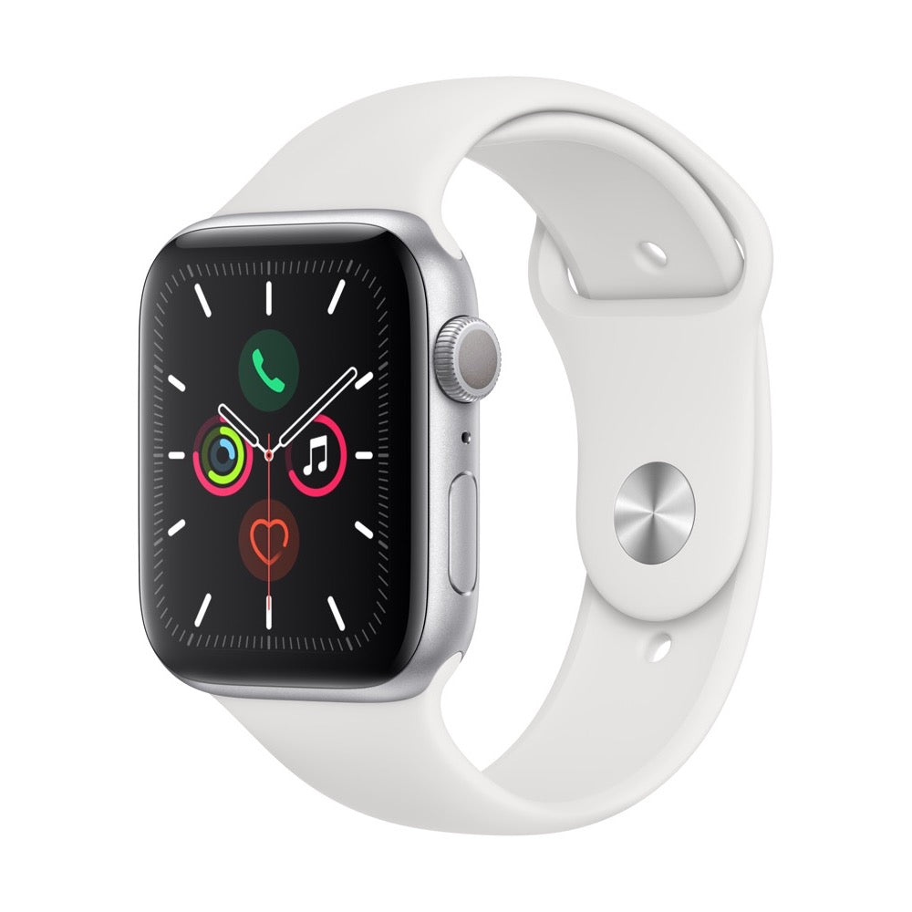 Apple Watch Series 5 Silver Aluminum Case with White Sport Band
