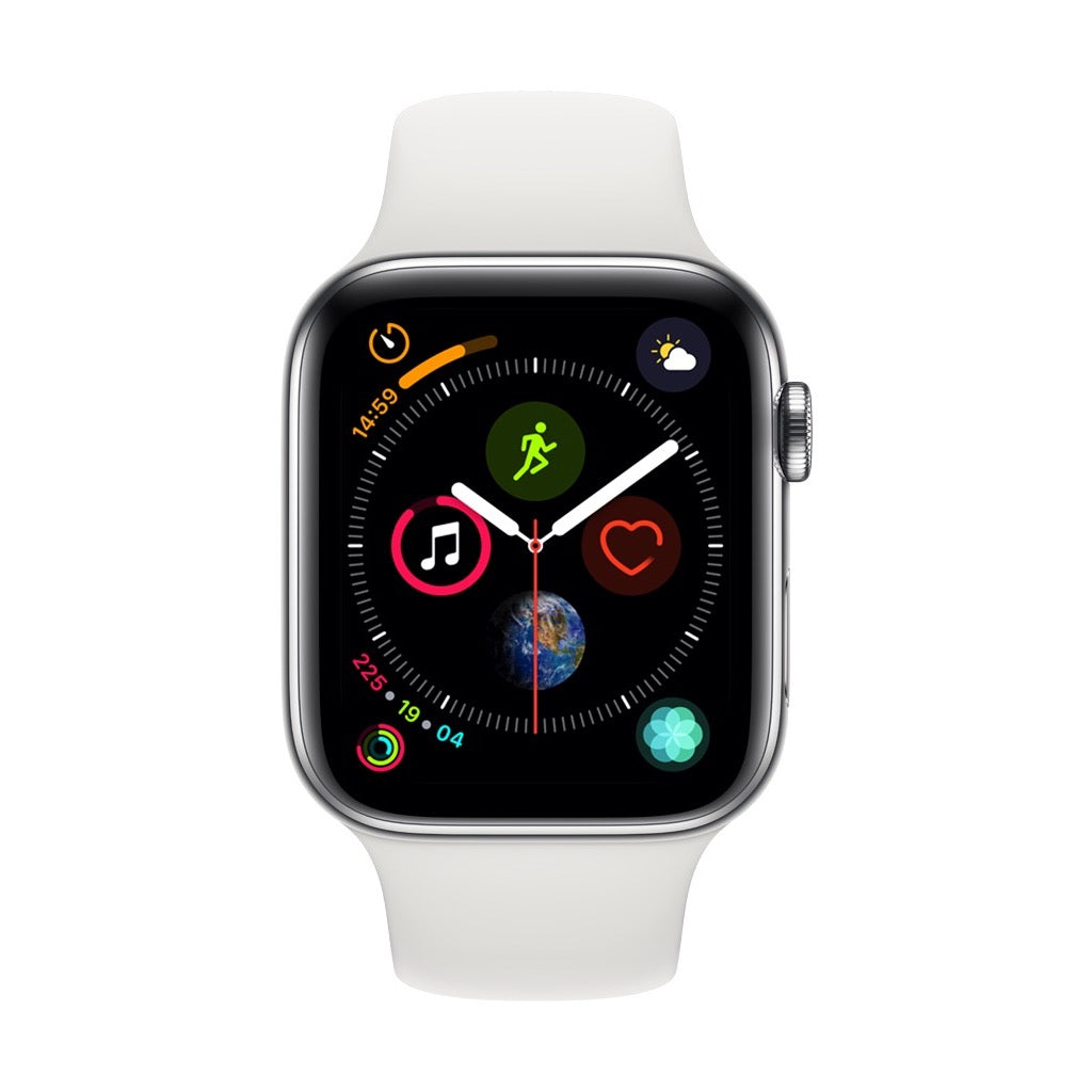 Apple Watch Series 4 Silver Stainless Steel Case with White Sport Band