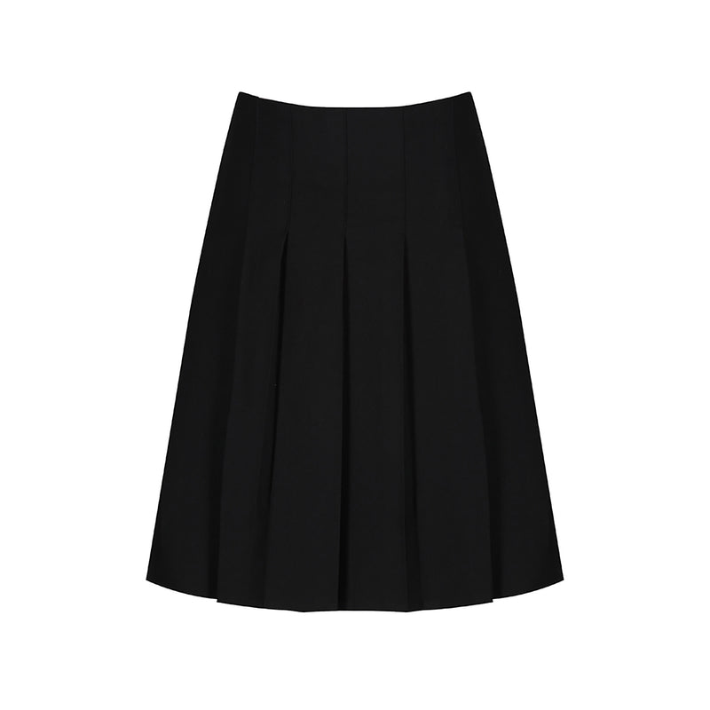 Black Junior Stitch Down Pleat Skirt
