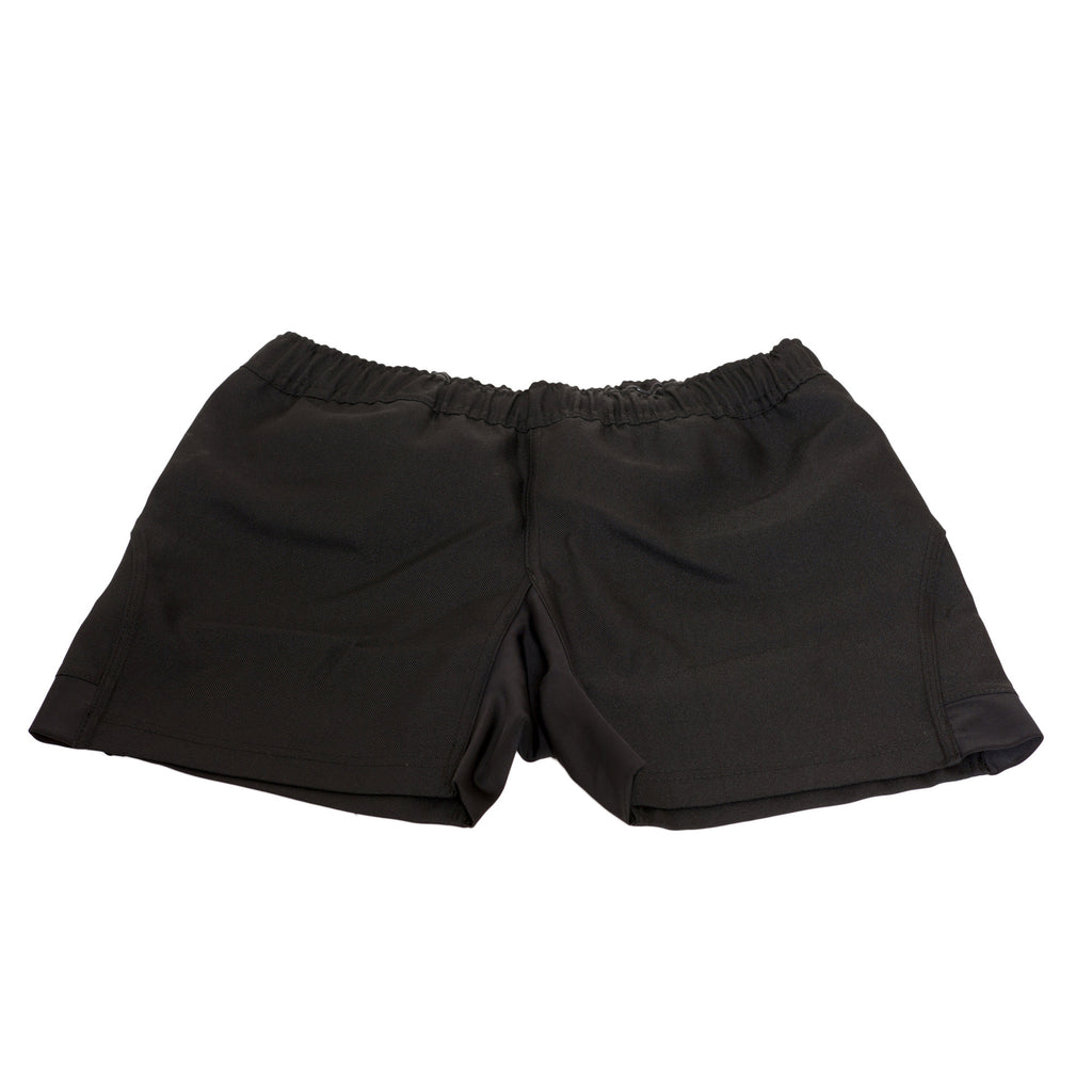 Black Cotton Rugby Shorts