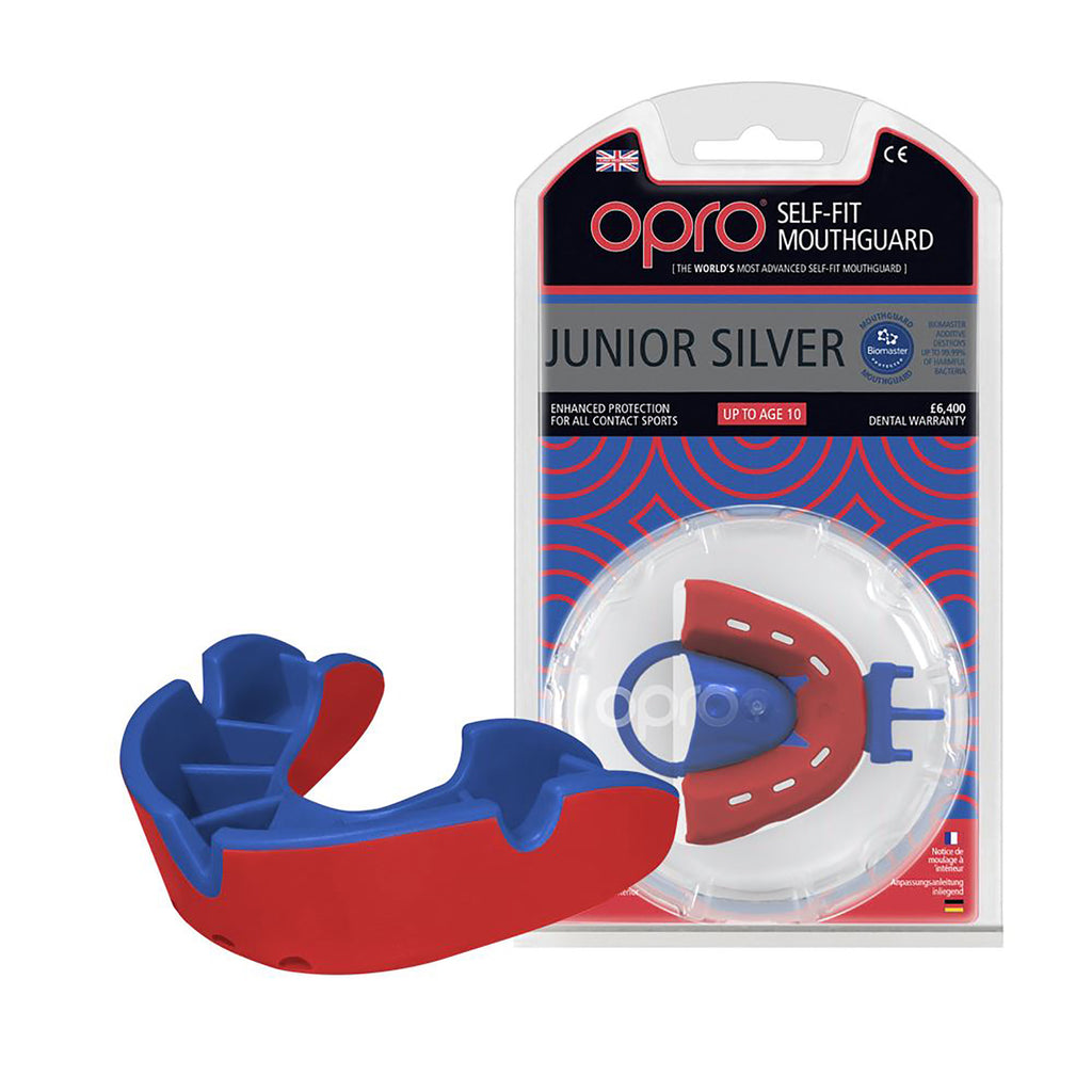 Opro Mouth Guard - Junior Silver Blue Mouth Guard