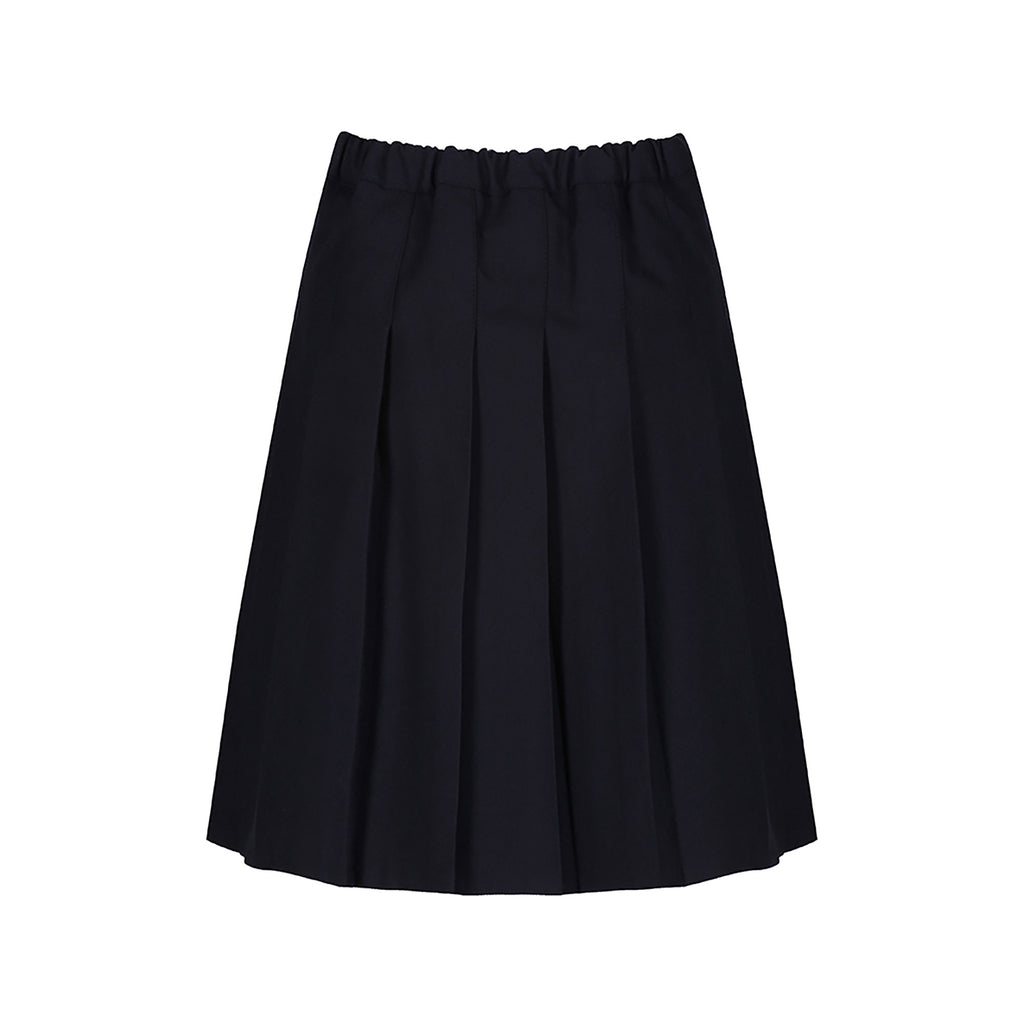 Navy Stitch Down Pleat Skirt