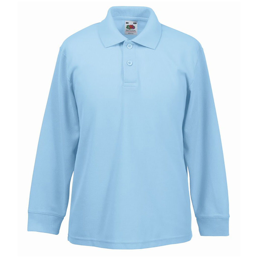 Plain Sky Blue Long Sleeve Polo Shirt