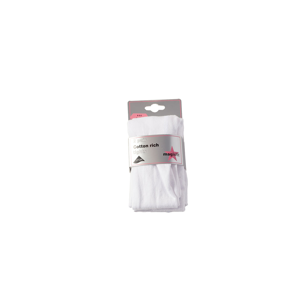 White Cotton Twin Pack School Tights