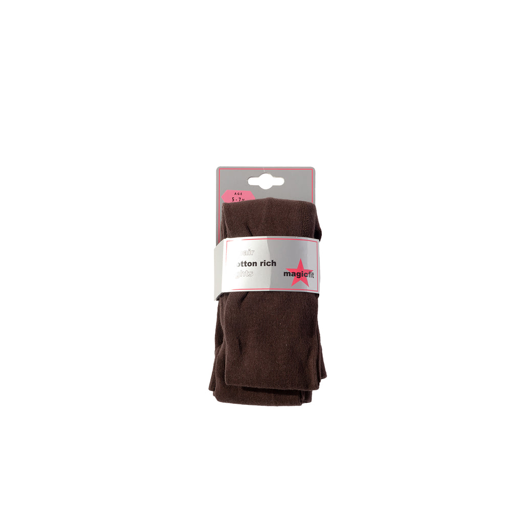 Brown Cotton Twin Pack School Tights