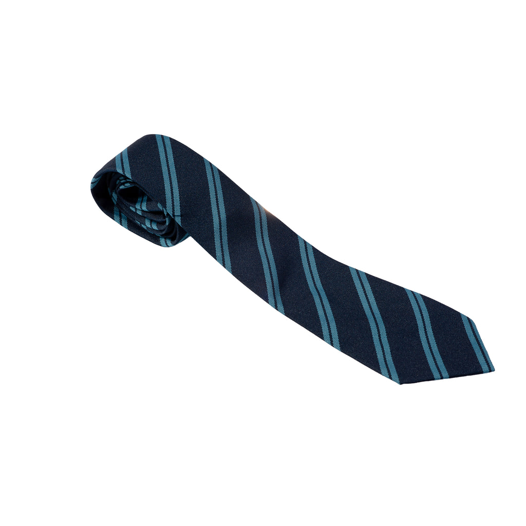 Navy Tie with twin Sky stripe
