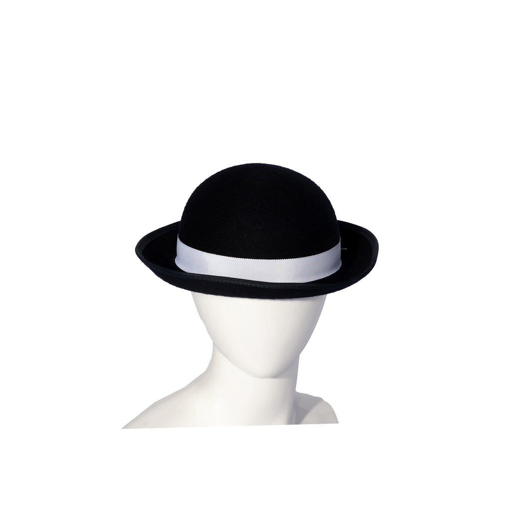 Navy Felt Hat with White Ribbon