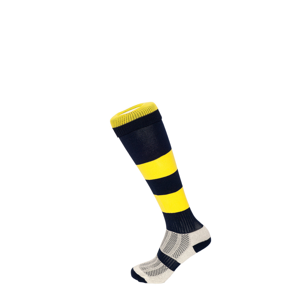 Navy/Yellow Hoop Football Socks