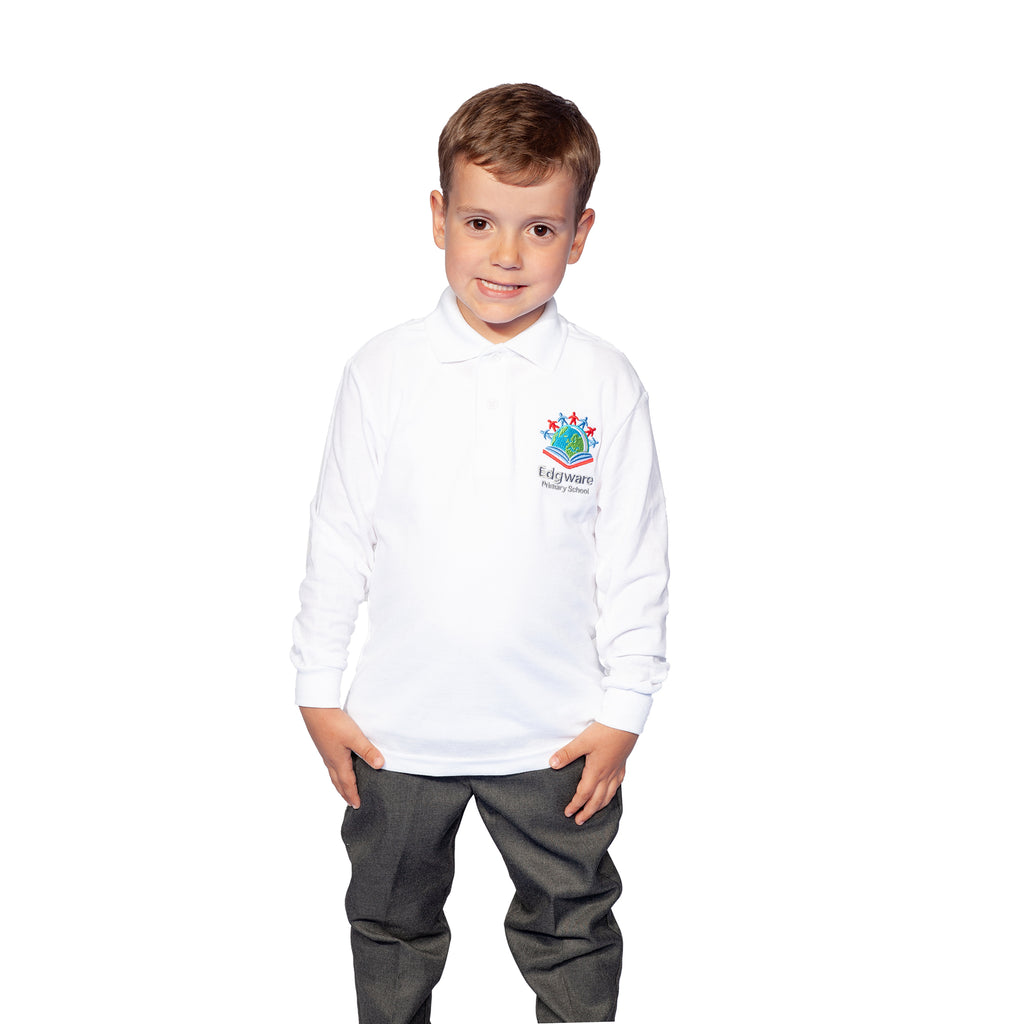 Edgware Primary White Long Sleeve Polo Shirt
